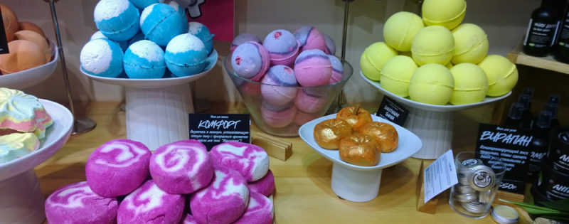Display of Lush products in store